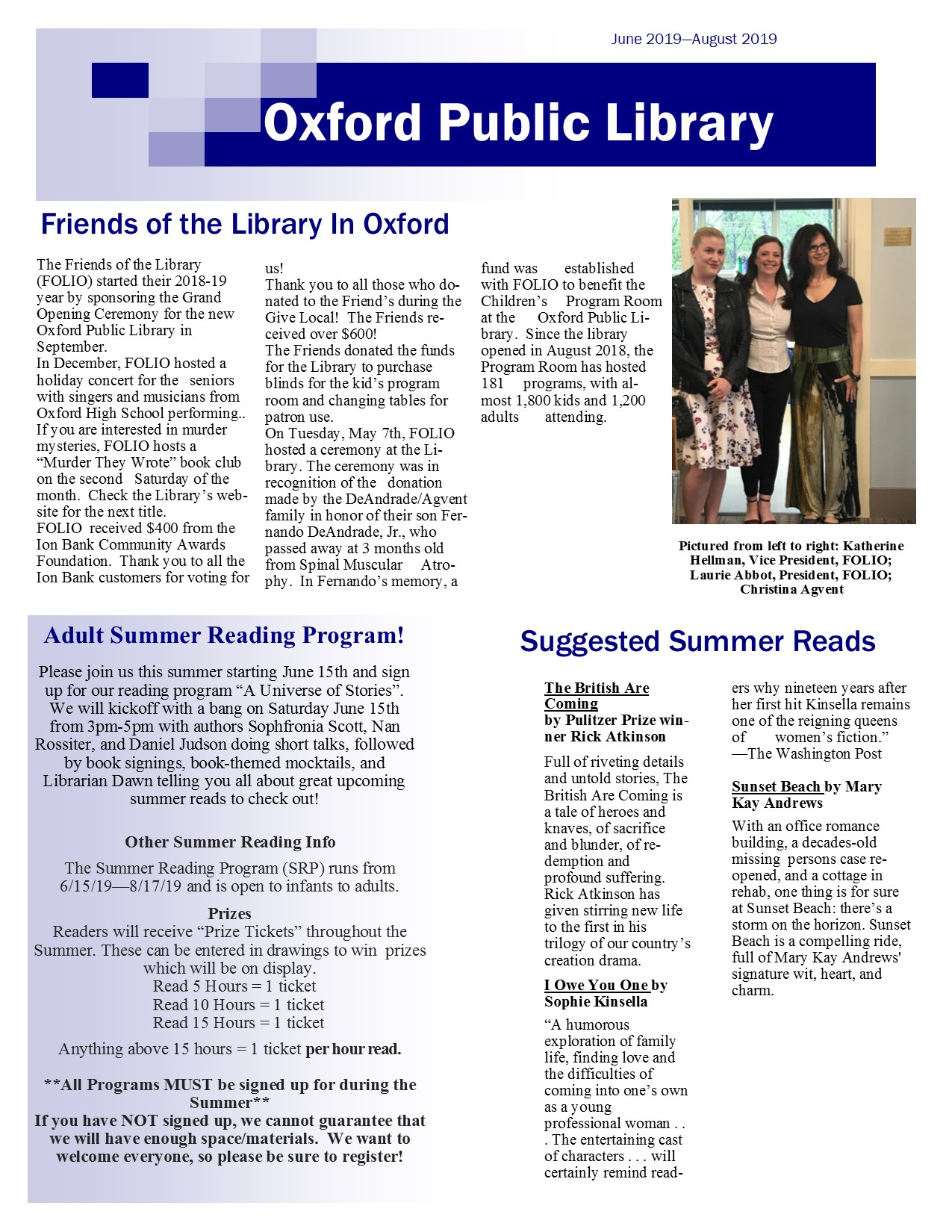 June to August 2019 Newsletter