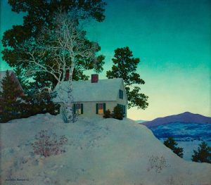 "Painting by Maxfield Parrish, ""Dusk,"" 1942, Oil on Masonite at New Britain Museum of American Art"