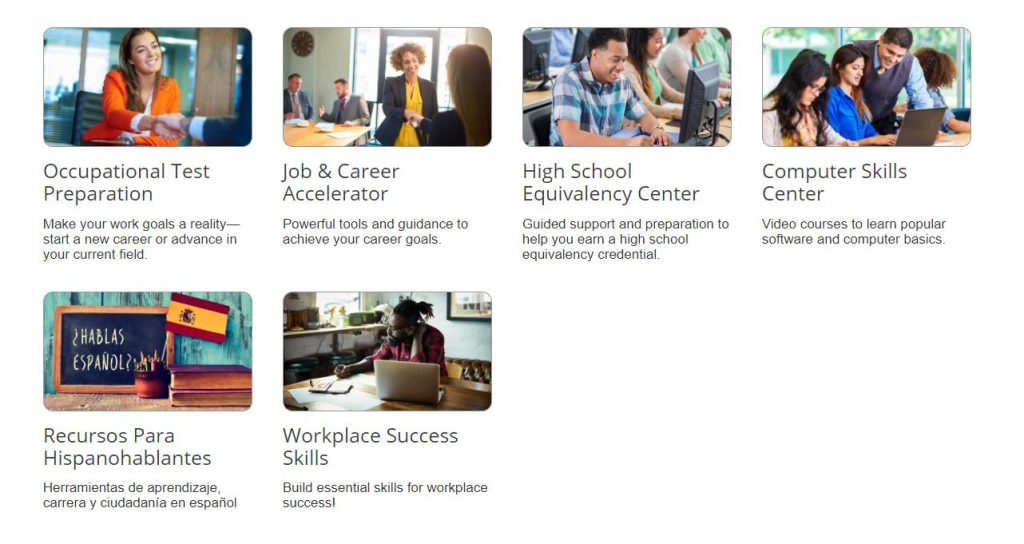 Picture of 6 job skills databases offered through the CT State Library and Oxford Library.